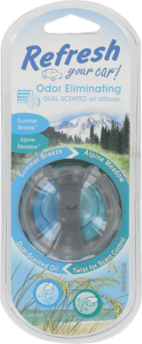 Refresh Your Car!® Summer Breeze and Alpine Meadow Odor Eliminating Dual-Scented Oil Diffuser Perspective: front