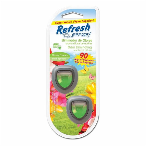 Refresh Your Car!® Fresh Spring Air Odor Eliminating Car Air Freshener - Green Perspective: front