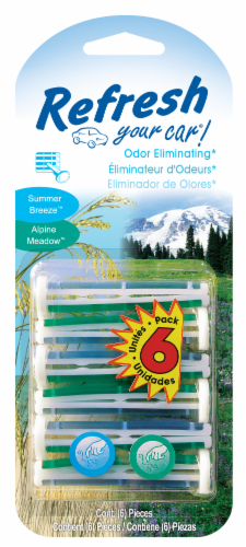 Refresh Your Car!® Summer Breeze & Alpine Meadow Odor Eliminating Vent Clips Perspective: front