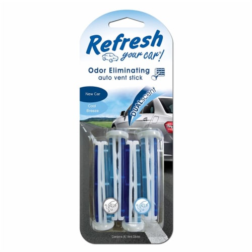 Refresh Your Car!® New Car & Cool Breeze Dual Scent Odor Eliminating Auto Vent Sticks Perspective: front