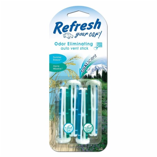 Refresh Your Car!® Summer Breeze & Alpine Meadow Dual Scent Odor Eliminating Auto Vent Sticks Perspective: front