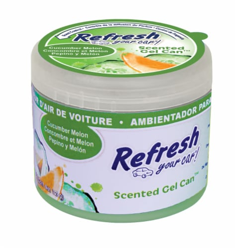 Refresh Your Car!® Scented Gel Can Cucumber Melon Auto Air Freshener Perspective: front