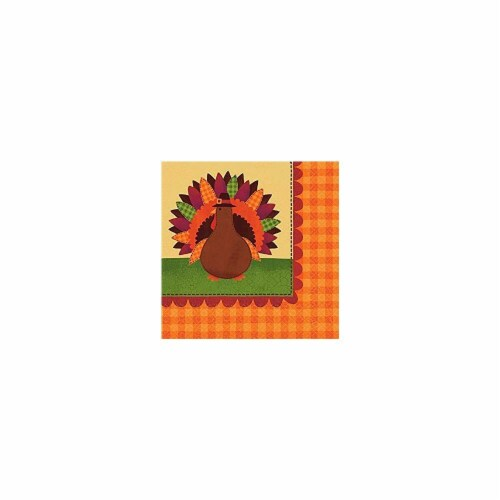 Amscan 713683 Autumn Turkey Dinner Lunch Napkins - Pack of 3 Perspective: front