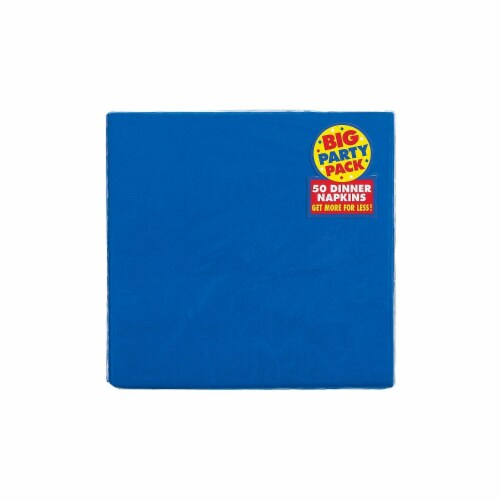 Amscan 62215.105 2-Ply Dinner Napkin Bright Royal Blue - Pack of 600 Perspective: front