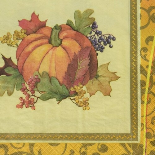 Amscan 521842 Autumn Bountiful Holiday Dinner Napkins - Pack of 3 Perspective: front