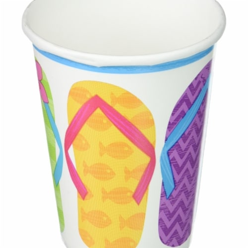 Amscan 681616 9 oz Summer Luau Flip Side Paper Cups - Pack of 2 Perspective: front
