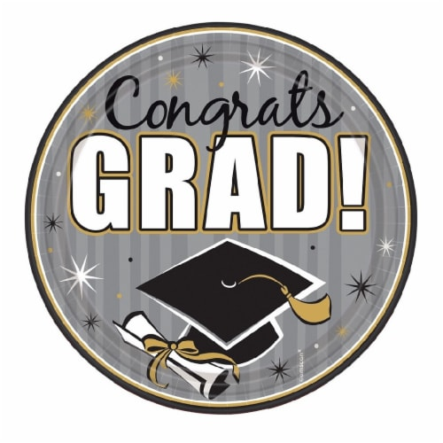 Amscan Congrats Grad 7-Inch Round Plates Perspective: front