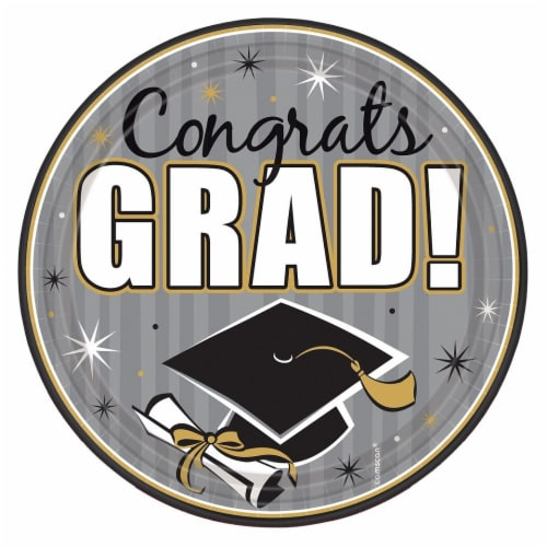 Amscan Congrats Grad 9-Inch Round Plates Perspective: front