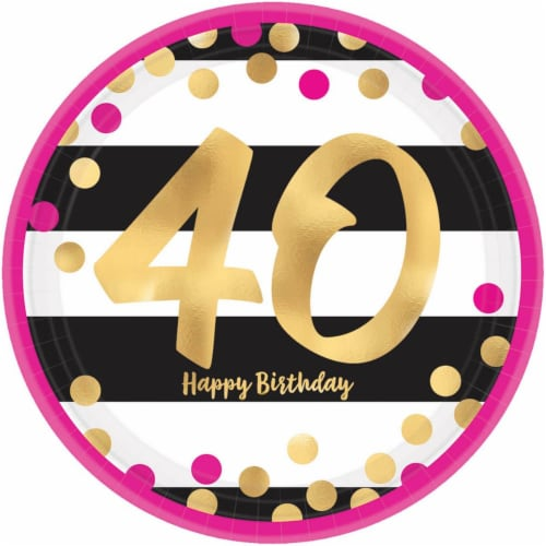 Amscan 269813 Pink & Gold 40th Birthday 9 in. Metallic Plates - 8 Piece Perspective: front