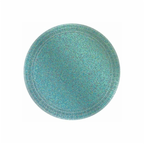 Amscan 306660 Prismatic Robins Egg Blue Lunch Plate, Pack of 8 Perspective: front