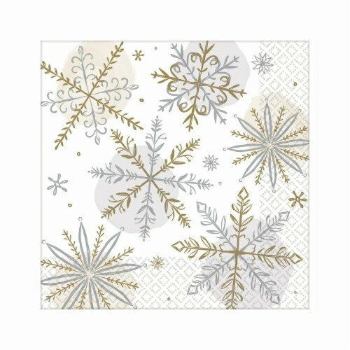 Amscan 522174 Christmas Shining Snow Dinner Napkins - 16 Piece per Pack, Pack of 3 Perspective: front