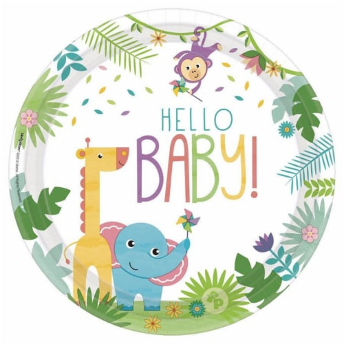 Amscan 307482 10.5 in. Fisher Price Hello Baby Dinner Plates, Pack of 8 Perspective: front