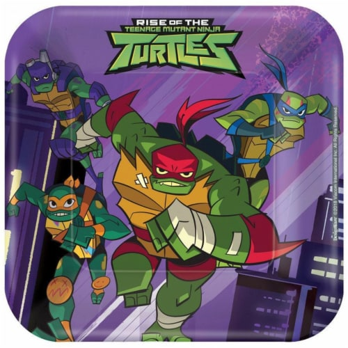 Amscan 307549 7 in. Rise of the Teenage Mutant Ninja Turtles Plates, Pack of 8 Perspective: front
