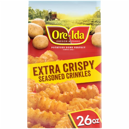 Ore-Ida Extra Crispy Seasoned Crinkles Fries Perspective: front