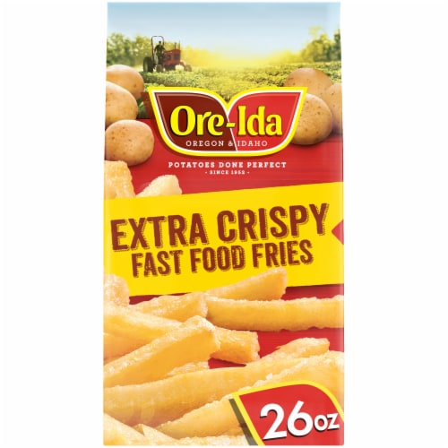 Ore-Ida Extra Crispy Fast Food Fries French Fried Potatoes Perspective: front