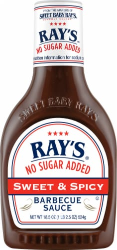 Sweet Baby Ray's No Sugar Added Sweet & Spicy BBQ Sauce Perspective: front