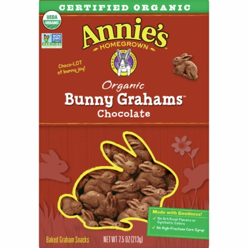 Annie's Homegrown Organic Chocolate Bunny Grahams Baked Graham Snacks Perspective: front