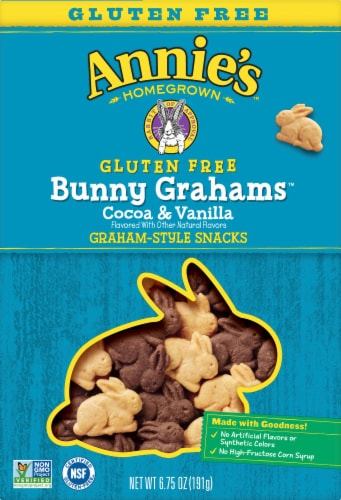 Annie's Bunny Grahams Gluten Free Cocoa & Vanilla Graham Style Snacks Perspective: front