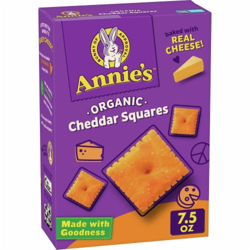 Annie's Organic Cheddar Squares Baked Snack Crackers Perspective: front