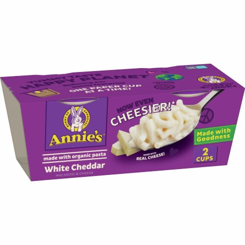 Annie's White Cheddar Macaroni & Cheese Microwave Cups Perspective: front