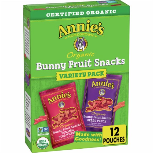 Annie's Organic Bunny Fruit Snacks Variety Pack Perspective: front