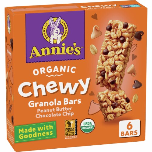 Annie's Organic Chewy Peanut Butter Chocolate Chip Granola Bars Perspective: front