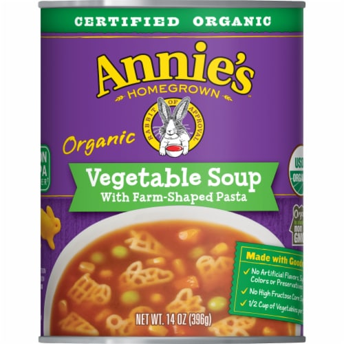 Annie's Homegrown Organic Farm-Shaped Pasta Vegetable Soup Perspective: front