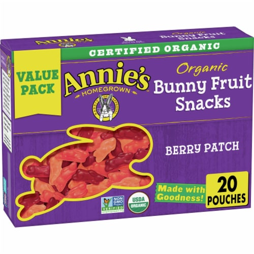 Annie's Organic Berry Patch Bunny Fruit Snacks Value Pack Perspective: front