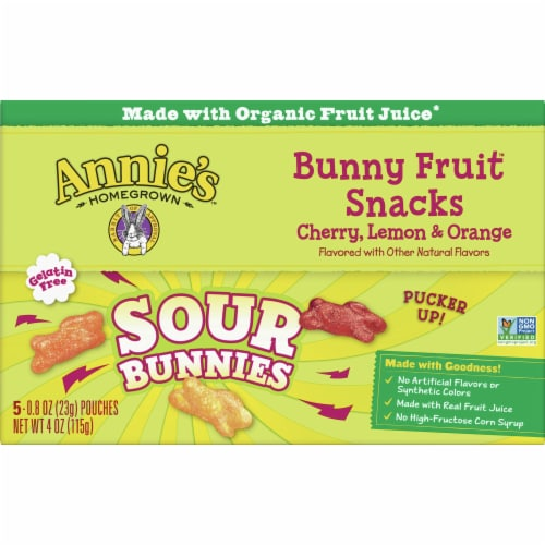 Annie's Homegrown Sour Bunnies Bunny Fruit Snacks Perspective: front