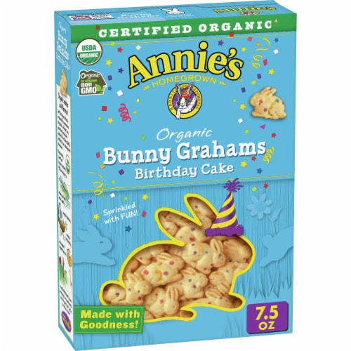Annie's Organic Birthday Cake Bunny Grahams Baked Snacks Perspective: front