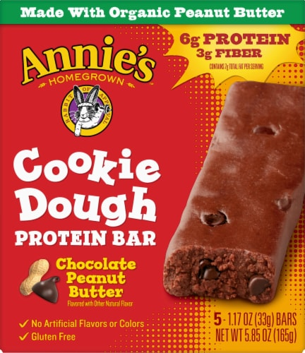 Annie's Homegrown Organic Chocolate Peanut Butter Cookie Dough Protein Bars 5 Count Perspective: front