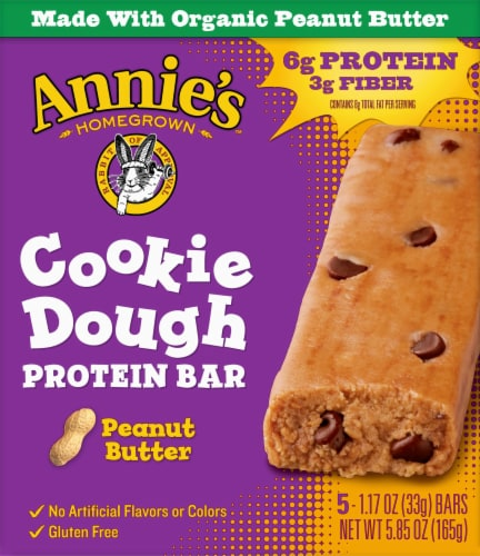 Annie's Homegrown Organic Peanut Butter Cookie Dough Protein Bars Perspective: front