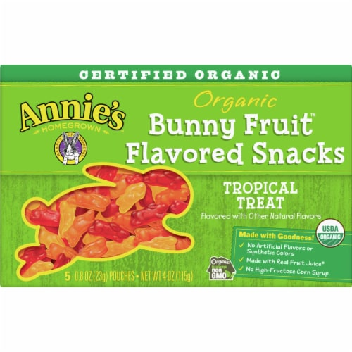 Annie's Organic Tropical Treat Bunny Fruit Snacks Perspective: front