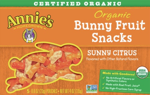 Annie's Organic Sunny Citrus Bunny Fruit Snacks Perspective: front