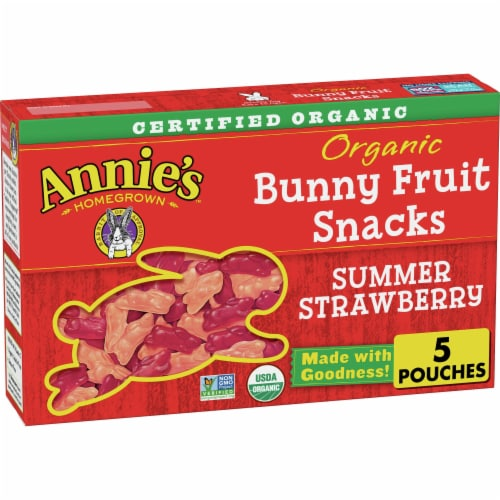 Annie's Organic Summer Strawberry Bunny Fruit Snacks Perspective: front