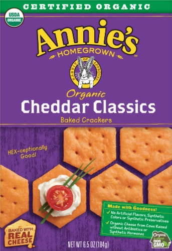 Annie's Organic Cheddar Classics Baked Crackers Perspective: front