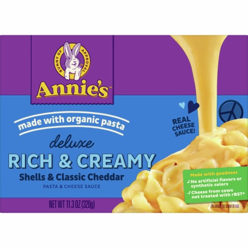 Annie's Deluxe Rich & Creamy Shells and Classic Cheddar with Macaroni and Cheese Sauce Perspective: front