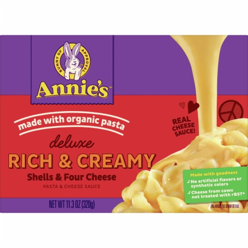 Annie's Deluxe Rich & Creamy Shells & Four Cheese Macaroni & Cheese Sauce Perspective: front