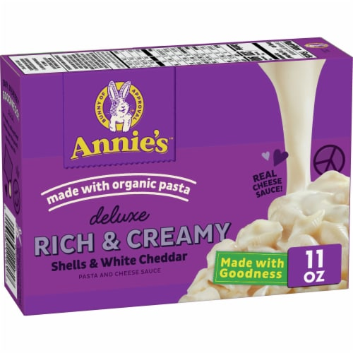 Annie's Deluxe Rich & Creamy Shells & White Cheddar Mac & Cheese Sauce Perspective: front