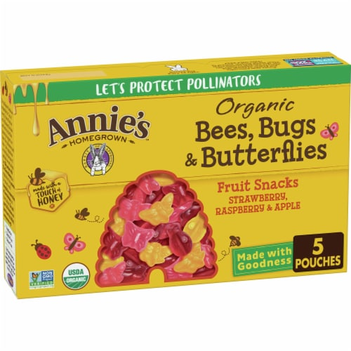 Annie's Organic Bees Bugs & Butterflies Fruit Kid Snacks Perspective: front