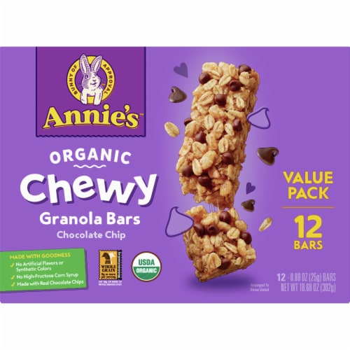 Annie's Organic Chewy Chocolate Chip Granola Bars Value Pack 12 Count Perspective: front