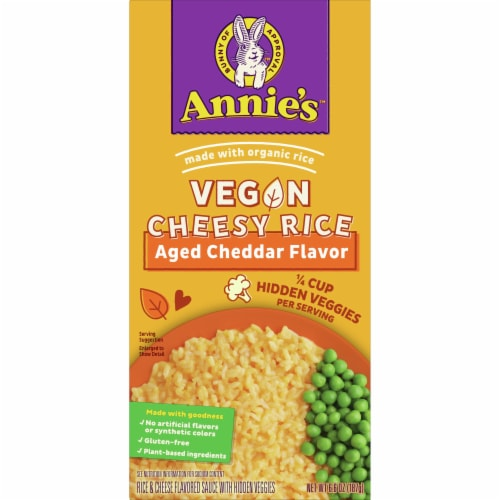 Annie's Vegan Aged Cheddar Cheesy Rice with Hidden Veggies Perspective: front