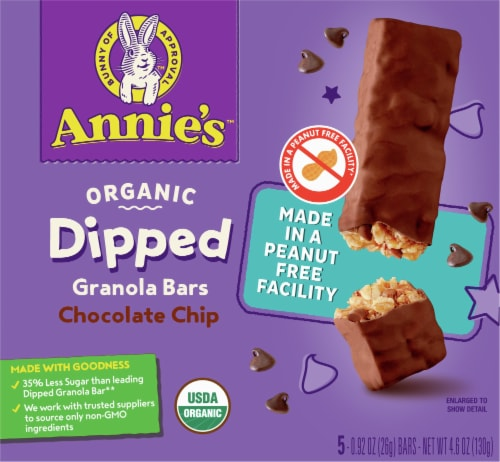 Annie's™ Organic Dipped Chocolate Chip Granola Bars Perspective: front
