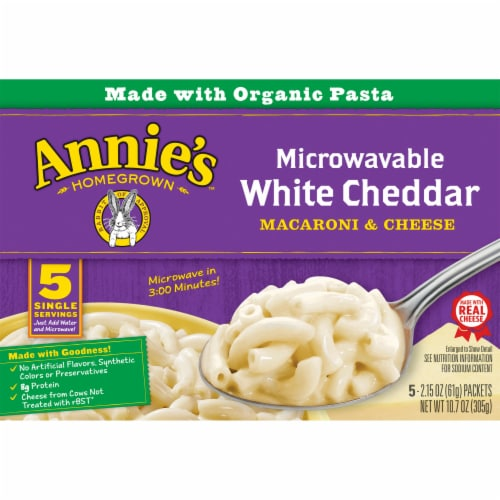 Annie's Microwavable White Cheddar Macaroni & Cheese 5 Count Perspective: front