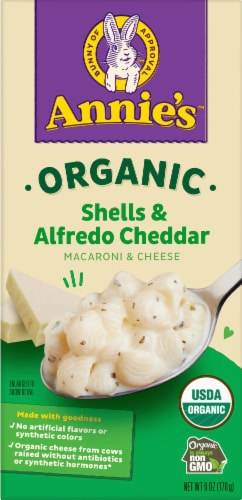 Annie's Organic Alfredo Shells & Cheddar Macaroni & Cheese Perspective: front