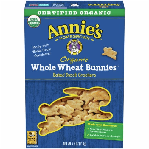 Annie's Organic Whole Wheat Bunnies Baked Snack Crackers Perspective: front