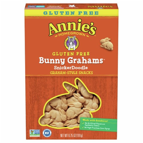 Annie's Bunny Grahams Gluten Free SnickerDoodle Graham Style Snacks Perspective: front