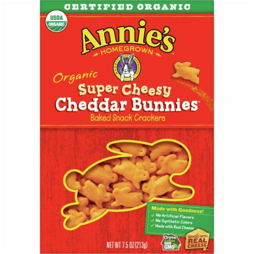 Annie's Homegrown Organic Super Cheesy Cheddar Bunnies Baked Snack Crackers Perspective: front