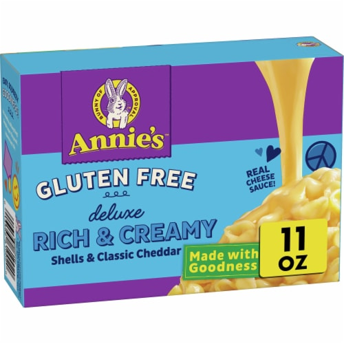 Annie's Gluten Free Deluxe Rich & Creamy Shells & Classic Cheddar Rice Pasta & Cheese Sauce Perspective: front