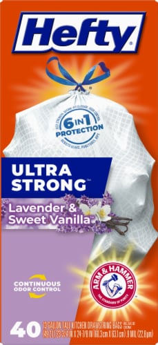 Hefty Ultra Strong Lavender & Sweet Vanilla 13-Gallon Tall Kitchen Drawstring Trash Bags Perspective: front